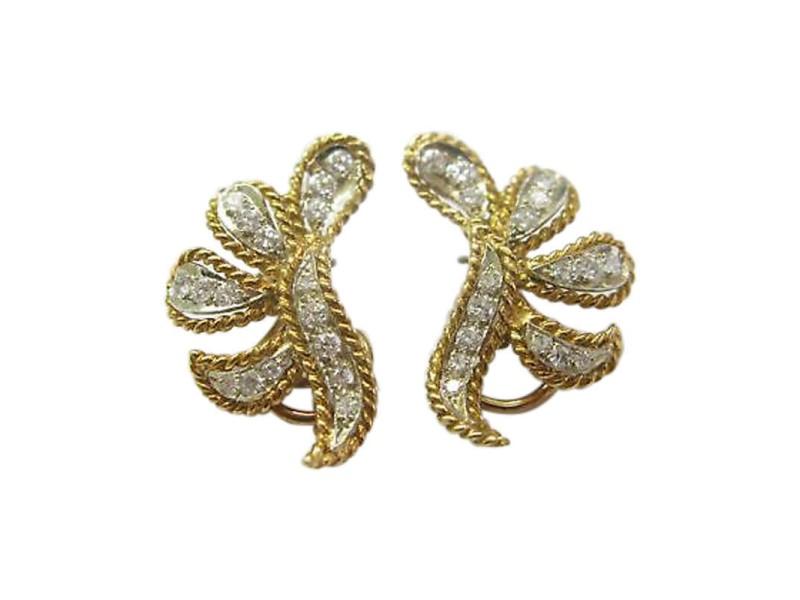 14K Yellow Gold 1.20 ct. Diamond Two Tone Earrings
