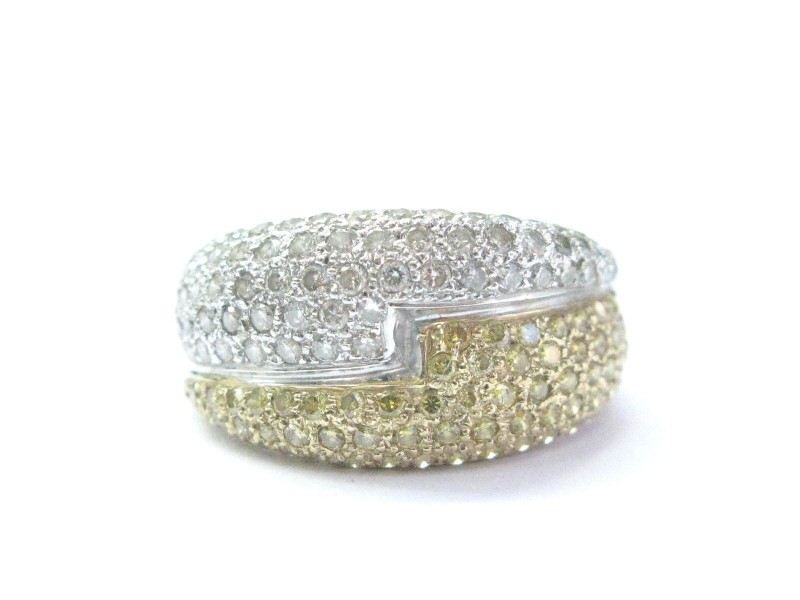White Gold White & Yellow Diamond Bypass Ring