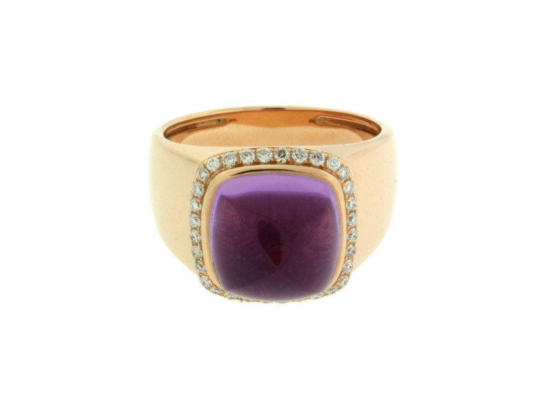 Fred Paris 18K Yellow Gold Amethyst & Diamond Ring