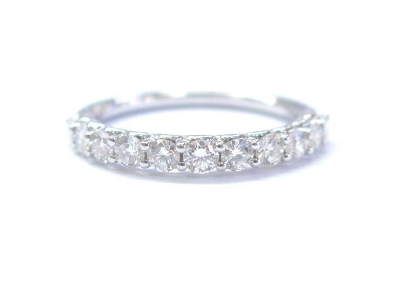 14K White Gold Diamond Prong Stone Band Ring