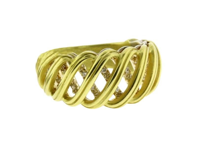 Slane & Slane 18K Yellow Gold & Sterling Silver Ventus Pave Diamond Ring