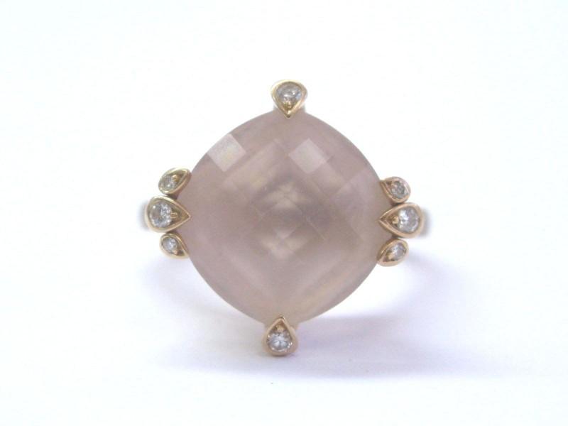 Cartier 18K Rose Gold Inde Mysterieuse Pink Quartz & Diamond Ring Size 5