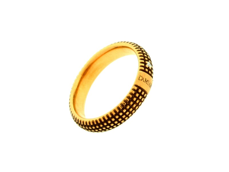 Damiani 18K Yellow Gold Metropolitan Dream 0.02ct. Diamond Band Ring Size 7