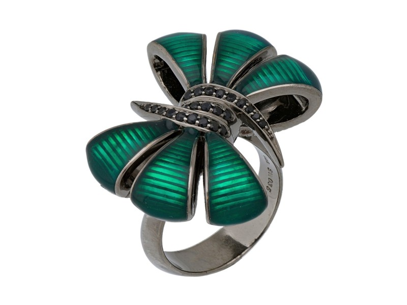 Stephen Webster 925 Sterling Silver Forget Me Knot Black Sapphire Enamel Bow Ring Size 7