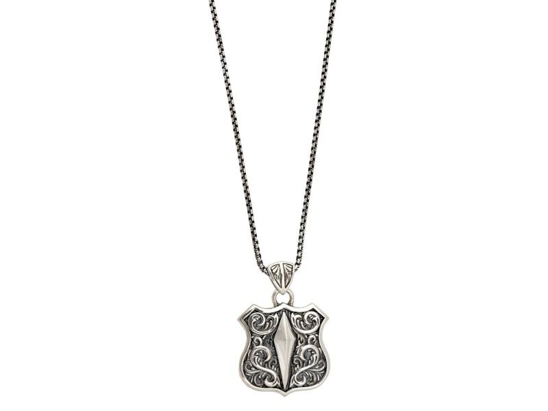 Stephen Webster 925  Sterling Silver Highwaymanman Shield Pendant Necklace