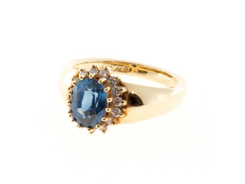 Estate 14k Yellow Gold Alfred Butler Oval Ceylon Sapphire Diamond Cluster Ring