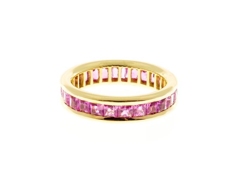 Vintage Gem Princess Cut Pink Sapphire Size 6 18K Gold 3.75CT Eternity Band Ring