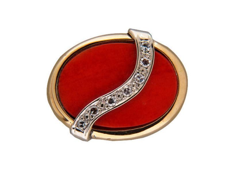 Vintage Oval Salmon Coral 17.5 X 12.5mm 14k Ring Swirl Of Single Cut Diamonds
