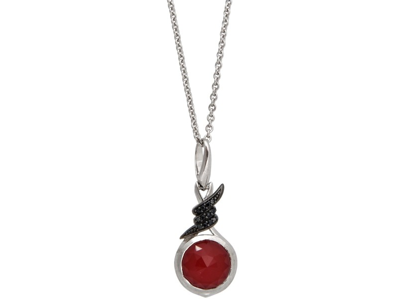 Stephen Webster 925 Sterling Silver Forget Me Knot Sapphire & Red Crystal Haze Necklace