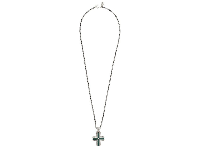 Stephen Webster 925 Sterling Silver Highwayman Malachite Cross Necklace