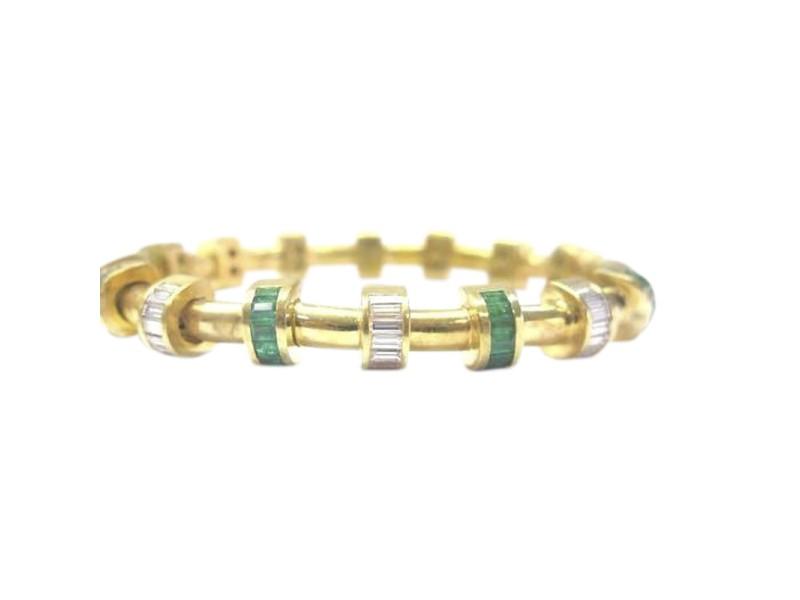 Charles Krypell 18K Yellow Gold Diamond Emerald Bracelet