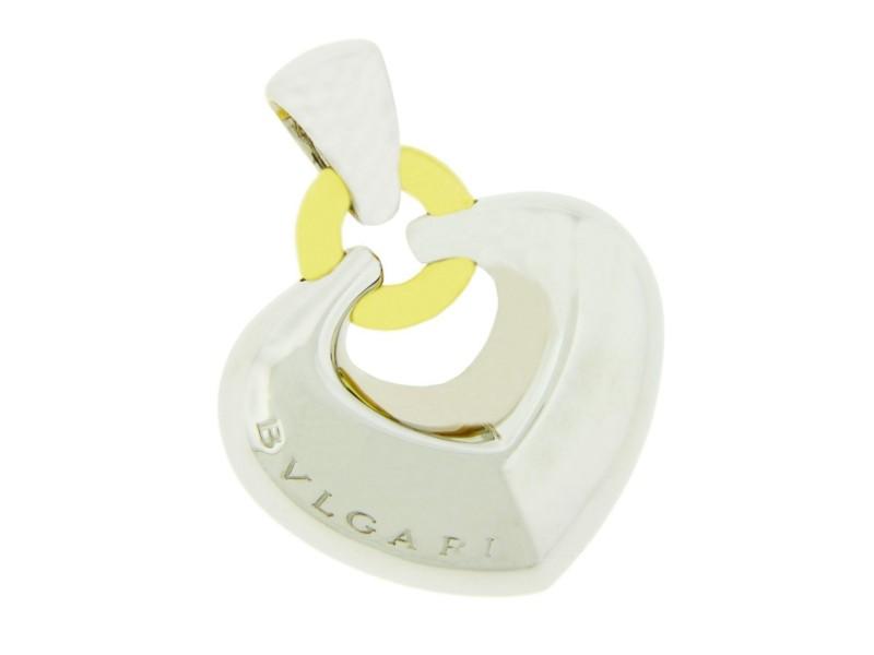 Bulgari 18K White & Yellow Gold Puffed Heart Pendant