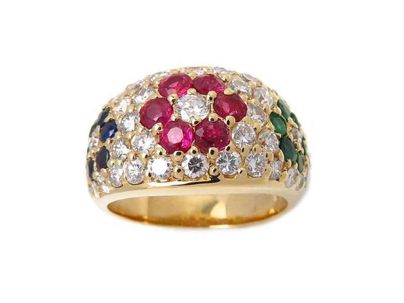 Ponte Vecchio 750 Yellow Gold with Multi Color Stones Flower Motif Ring Size 5.5