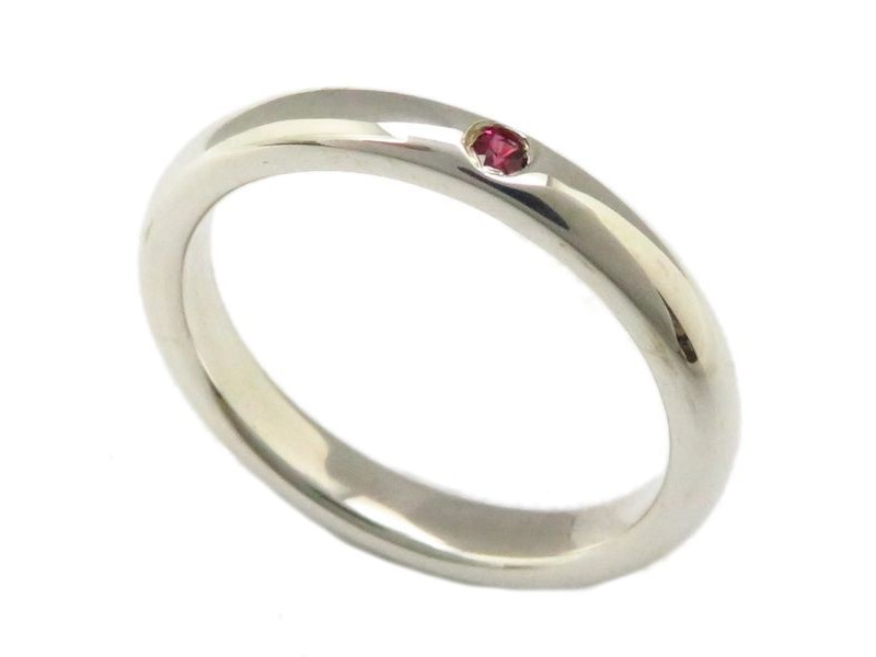 Tiffany & Co. 925 Sterling Silver with Ruby Band Ring Size 5