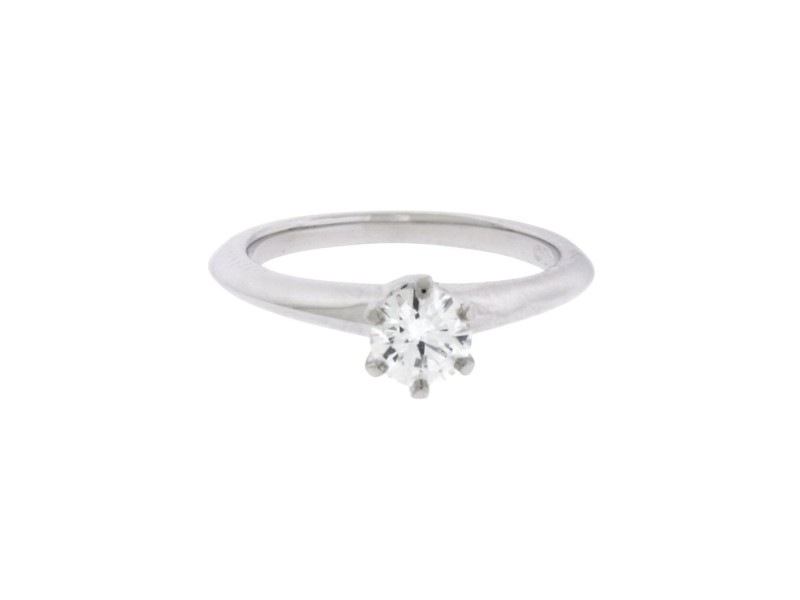 Tiffany & Co. PT950 Platinum with 0.39ct Solitaire Diamond Engagement Ring Size 4.5