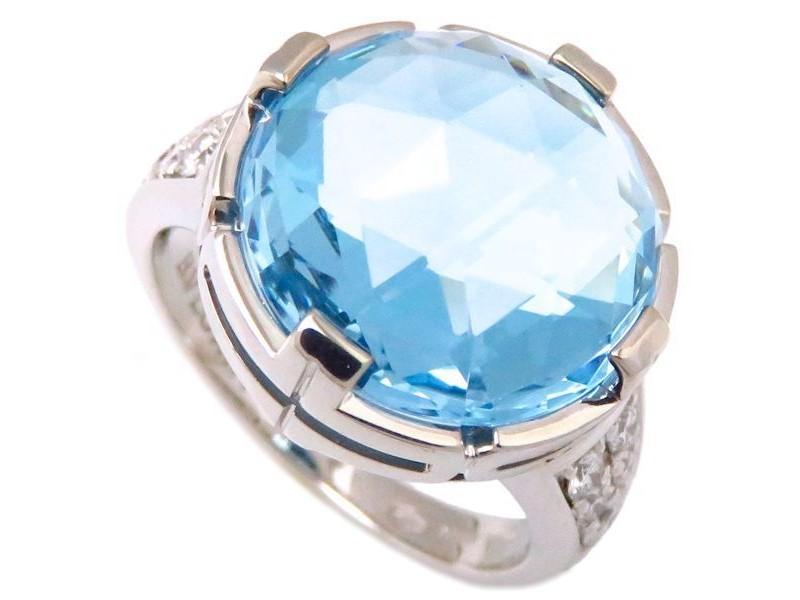 Bulgari 18K White Gold with Blue Topaz & Diamond Parentesi Cocktail Ring Size 6.5