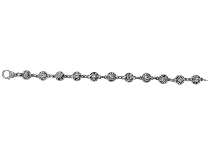 Judith Ripka 925 Sterling Silver with Cubic Zirconia Link Bracelet
