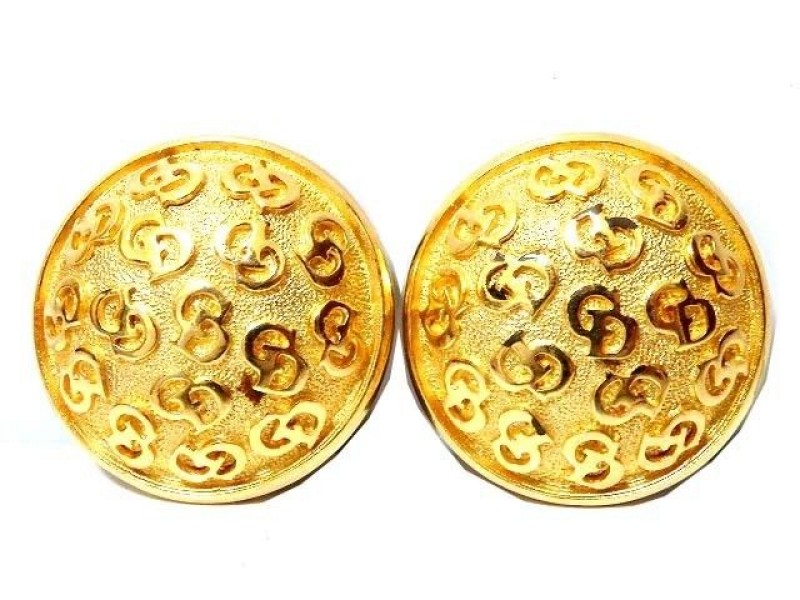 Christian Dior Gold Tone CD Logo Earrings