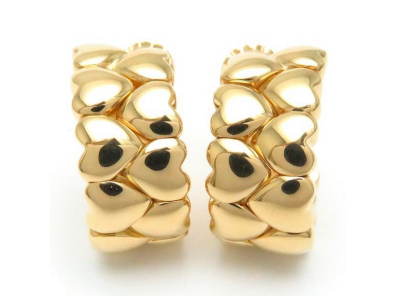 Cartier Double Heart Earrings 18K Yellow Gold