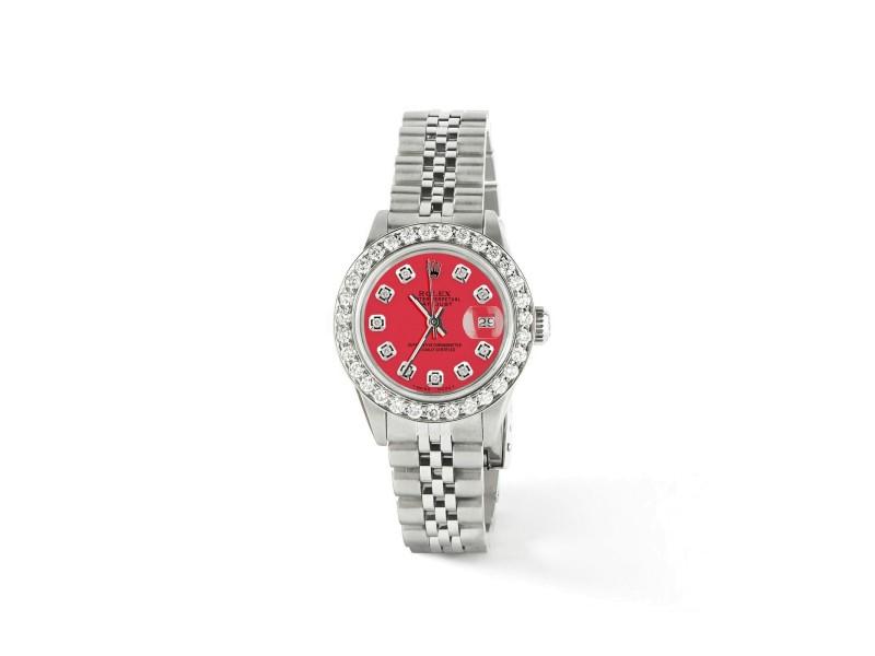Rolex Datejust Steel 26mm Jubilee Watch Scarlet Red Diamond Dial/Bezel