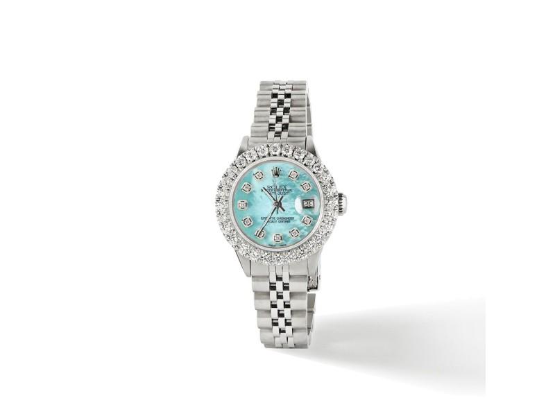 Rolex Datejust Steel 26mm Jubilee Watch 2CT Diamond Bezel / Aquamarine MOP Dial