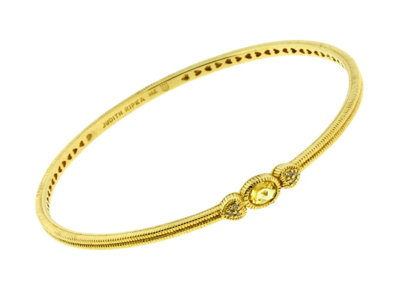 Judith Ripka diamond & canary quartz bangle in 14k Yellow gold size M
