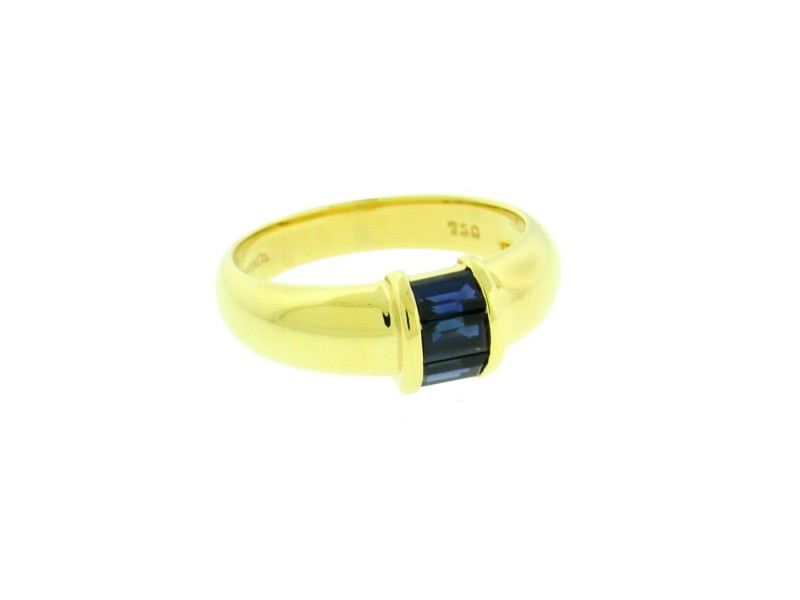 Tiffany & Co blue sapphire Ring In 18k yellow Gold Size 5.75
