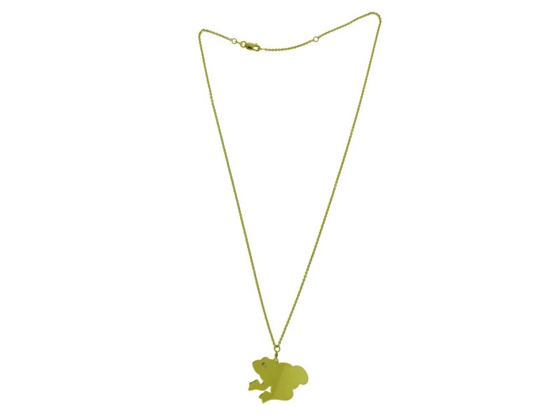 Roberto Coin diamond frog necklace in 18k  yellow gold