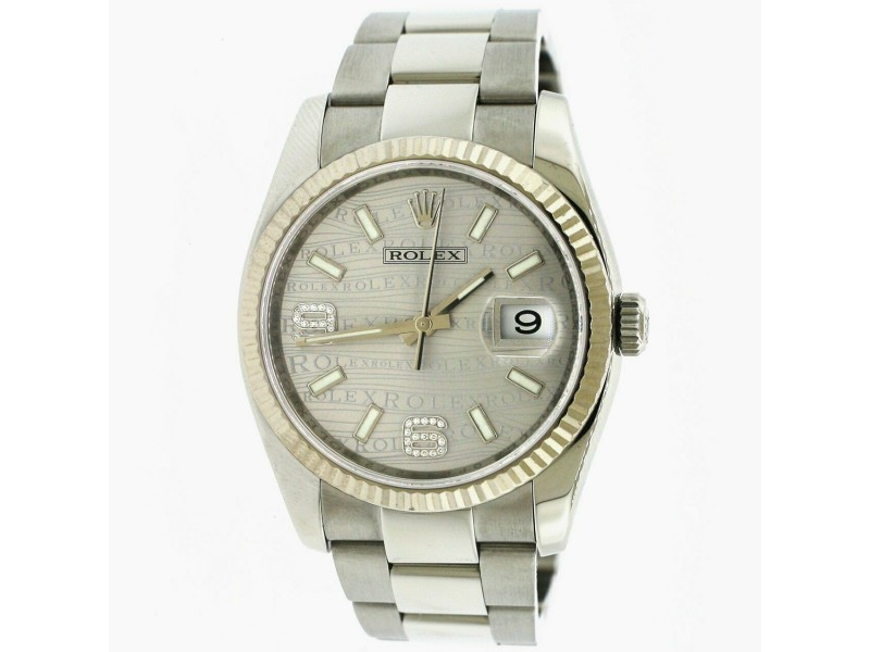 Rolex Datejust 36MM/White Gold Fluted Bezel/Silver Waves Diamond Arabic 6&9 Dial