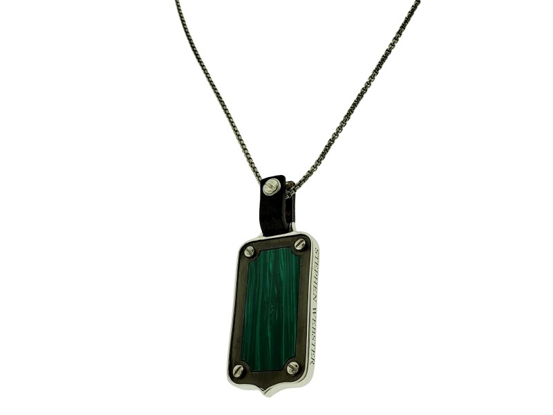 Stephen Webster England Made Me Malachite tag Pendant necklace unisex