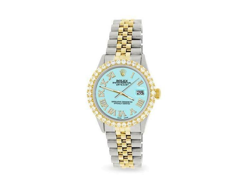 Rolex Datejust 36mm 2-Tone WATCH w/3.10ct Diamond Bezel/Aqua Blue Diamond Dial