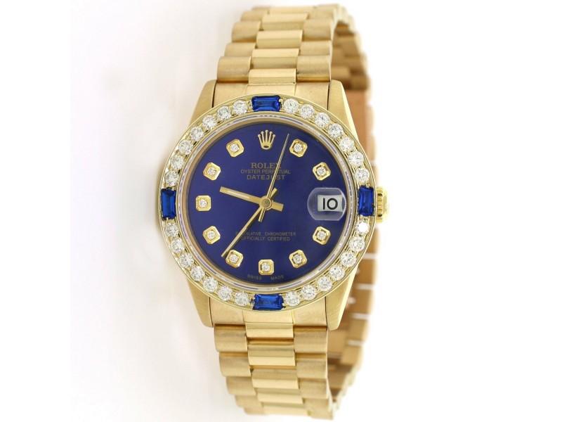 Rolex President Datejust Midsize 31MM Yellow Gold w/Blue Diamond Dial & Bezel