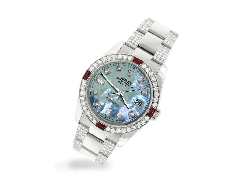 Rolex Datejust 116200 Steel 36mm Watch w/4.5Ct Diamond Bezel Tahitian Blue Dial