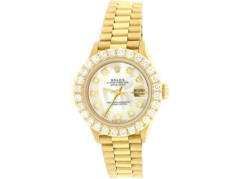 Rolex President Datejust 26mm Gold Watch w/2CT Diamond Bezel/White MOP Dial