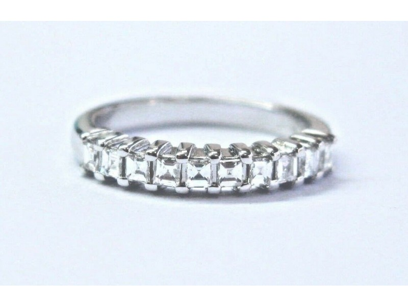 18Kt Asscher Cut Diamond White Gold Half Band Ring .30Ct