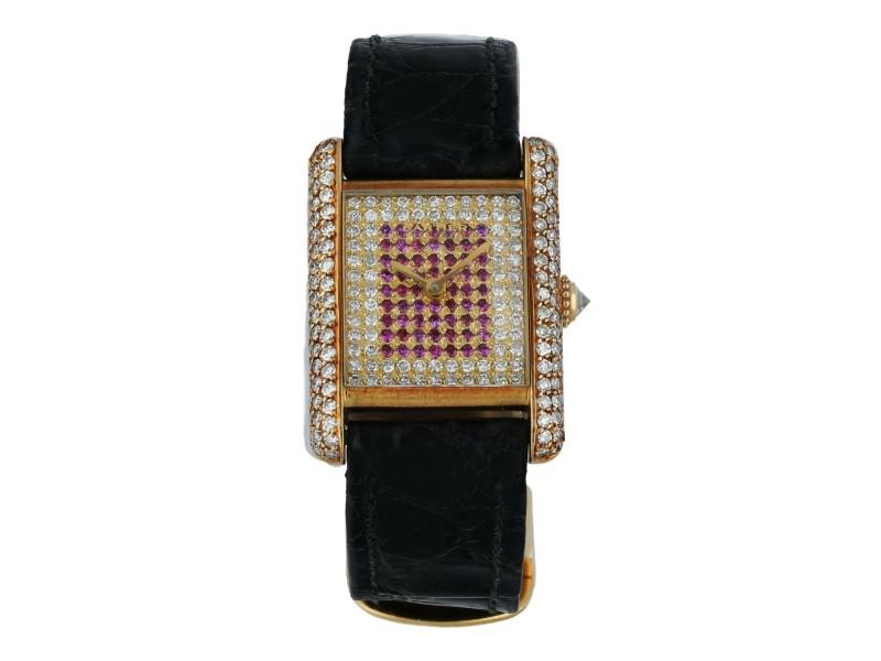 Cartier Tank Paris Diamond Dial Yellow Gold Ladies Watch