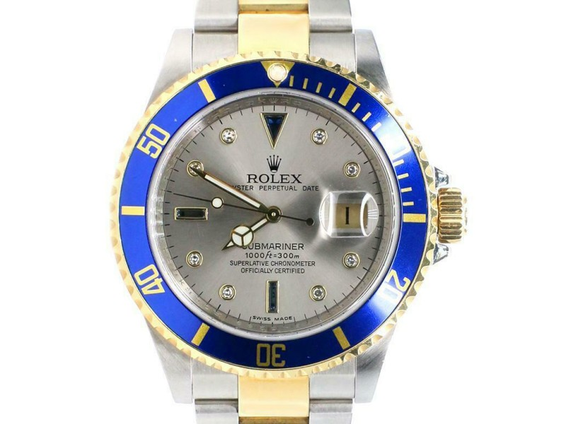 Rolex Submariner 40mm 2-Tone Yellow Gold/Steel Watch with Factory Diamond Dial