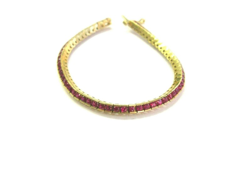 "Natural Round Ruby Tennis Bracelet 18Kt Yellow Gold 63-Stones 7"" 4.00Ct"