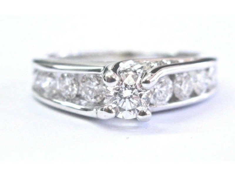 Leo Schachter Company Diamond White Gold Engagement Ring 1.28Ct 14KT