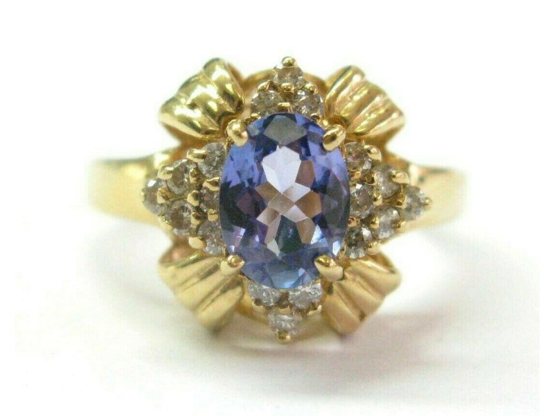Oval Tanzanite & Diamond Yellow Gold Ring Solid 14Kt 1.10Ct AAAA/VS SIZEABLE