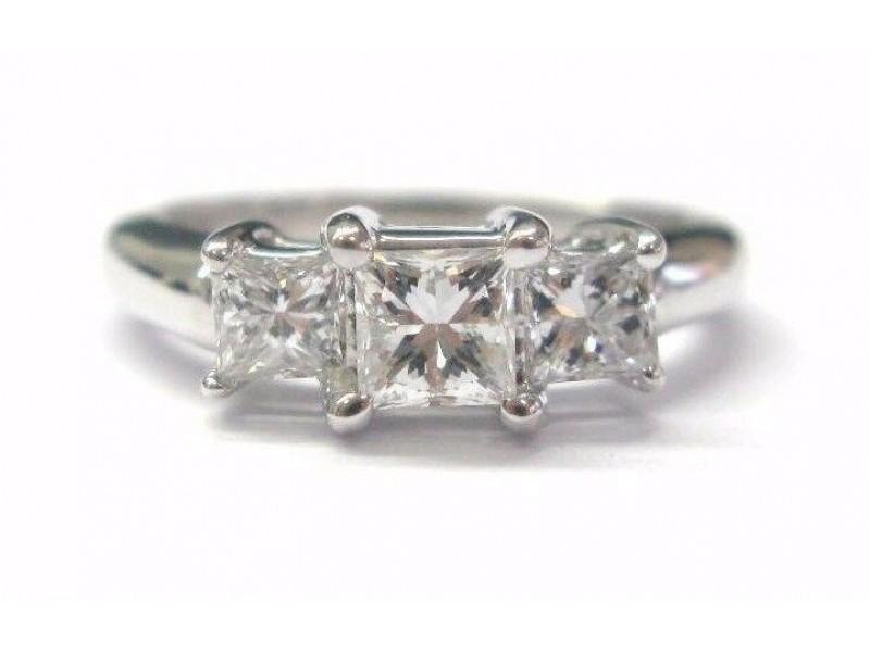 Princess Cut Diamond Three-Stone Engagement Ring Solid White Gold 14Kt .98CT