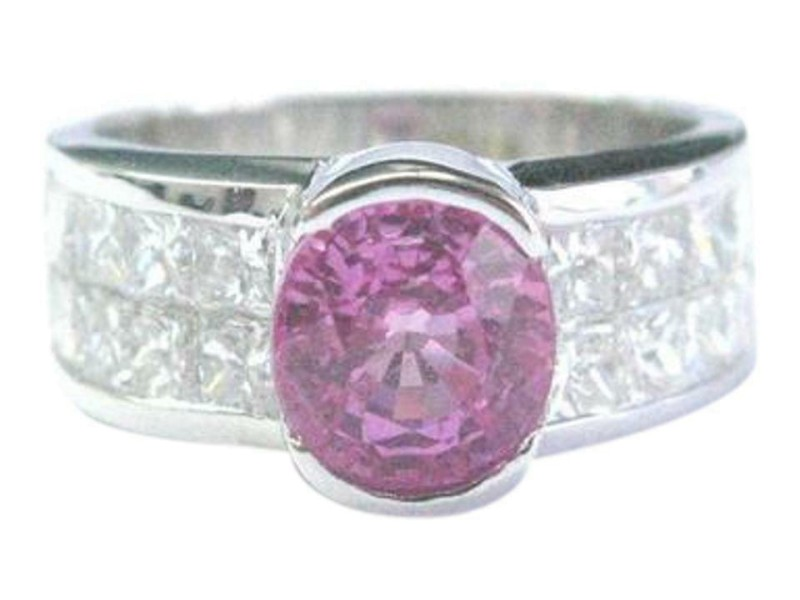 18Kt NATURAL Pink Sapphire & Diamond SOLID White Gold Jewelry Ring 3.50CT