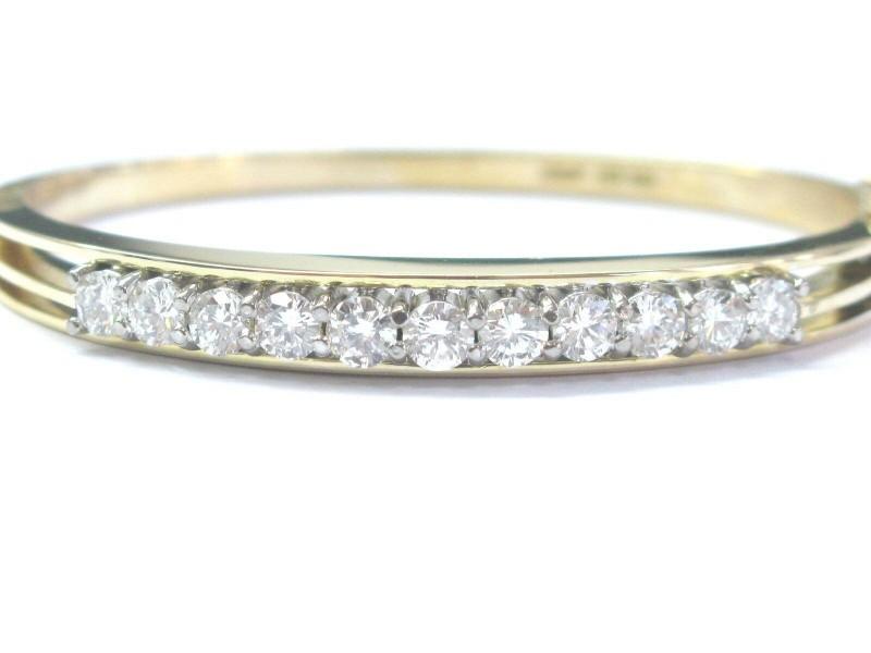 18Kt Round Cut NATURAL Diamond 11-Stone Yellow Gold Bangle Bracelet 2.50Ct