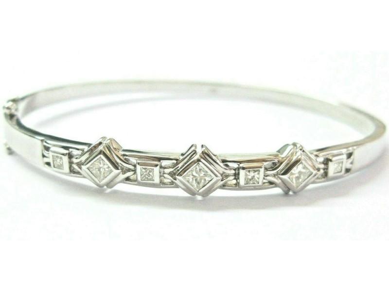 Princess Cut Diamond Bangle 18Kt White Gold Seven Stones Bezel Set Bangle .94Ct