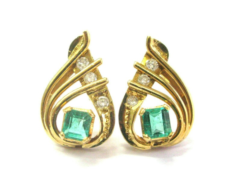Colombian Green Emerald & Diamond Pear Shape Drop Earrings 2.10Ct 18kt YG 18.5mm