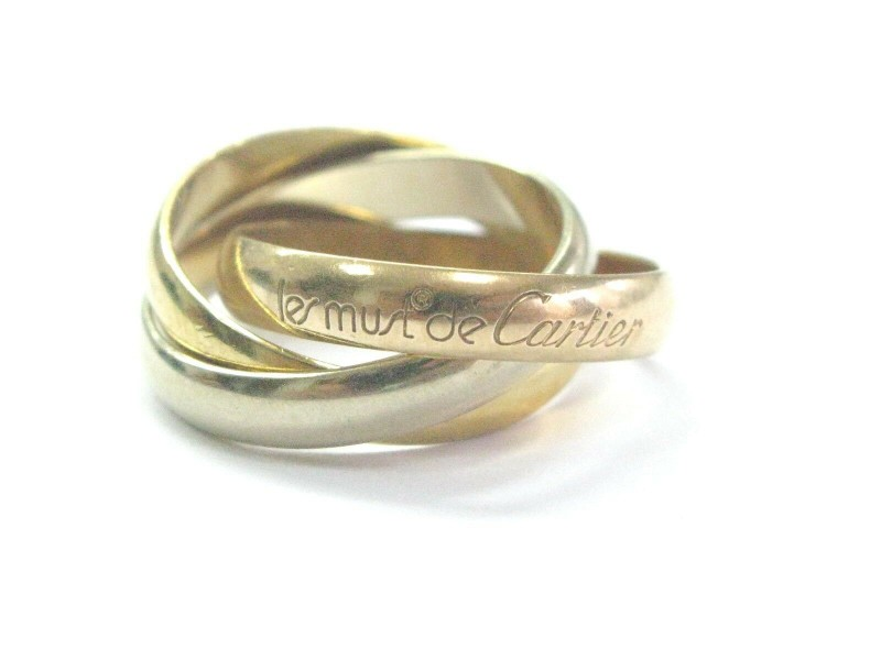 Cartier 18KT La Maison Cartier Trinity Tri-Color  Rolling Ring 3.5mm Size 50