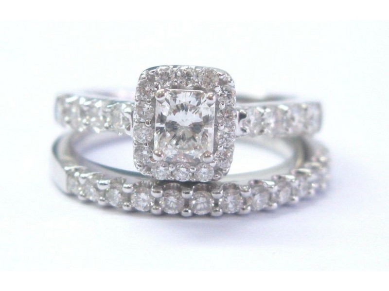 Fine Radiant & Round Cut Diamond White Gold Engagement Wedding Set 14Kt 1.36Ct