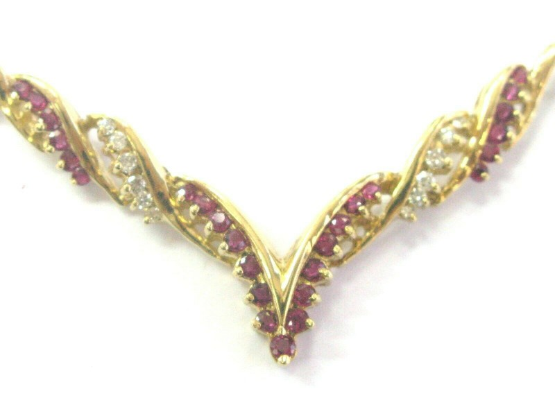 """Natural Ruby & Diamond V Necklace 14Kt Yellow Gold 1.95Ct + .30Ct 16.5"""""""