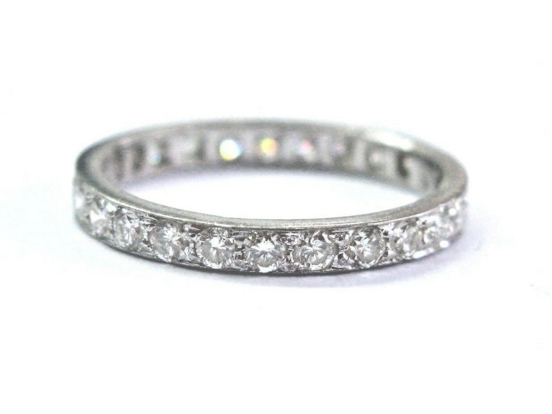 Fine Round Cut Diamond White Gold Eternity Band Ring 25-Stones .88Ct Size 6.25