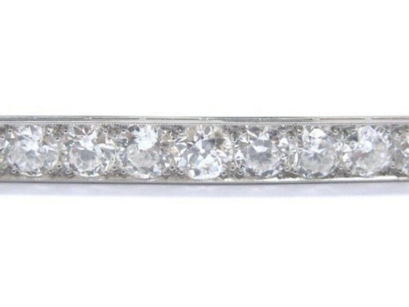 "Platinum Vintage Old European Cut Diamond Milgrain Bar Pin 14-Stones 2.5"" 5.32Ct"
